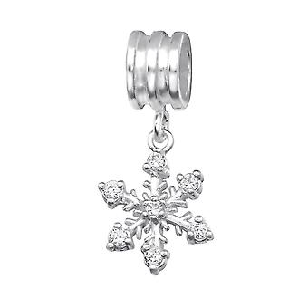 Snowflake - 925 Sterling Silver Jewelled Beads - W28870X
