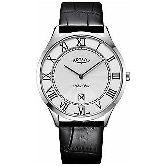 Rotary Mens Ultra Slim Black Leather Strap Steel Case GS08400/29 Watch