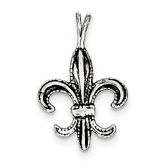 925 Sterling hopea kiillotettu antiqued Fleur de lis Charm-1,6 grammaa