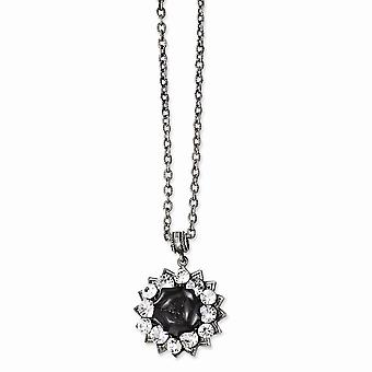 Black plated Crystal and Black Flower 16inch With 3in Ext Necklace Jewelry Gifts for Women