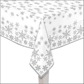 Ambiente Tablecloth, Snow Crystals Argent 140 x 220cm