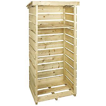 Charles Bentley houten één Tall log Store firewood tuin opslageenheid
