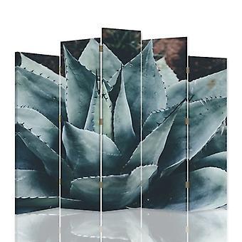 Diviseur de pièce décoratif, 5 panneaux, double-sided, toile rotative de 360 , agave 2