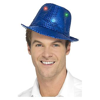 Gli adulti blu illuminano Sequin Trilby cappello costume accessorio