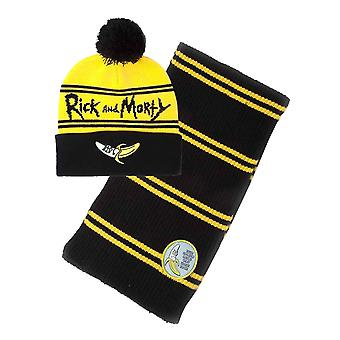 Rick And Morty Beanie Scarf Gift Set Banana Logo new Official Unisex