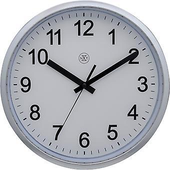 nXt - Wall clock - 25,5 cm Ø - Plastic -  Brushed Shiny Silver - 'Robust'