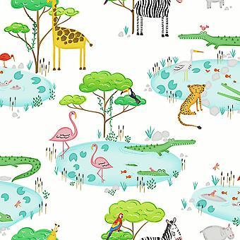 Sobre el arco iris cocodrilo lago selva fondo de pantalla blanco Holden 90930