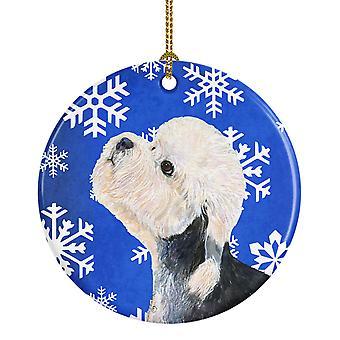 Dandie Dinmont Terrier invierno los copos de nieve vacaciones Navidad adorno cerámica