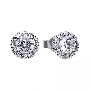 Diamonfire Silver White Zirconia Solitaire Earrings E5576