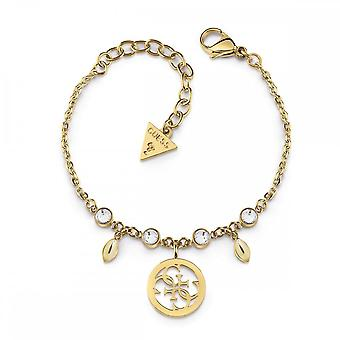 Guess Jewellery Guess Gold Clear Crystal And 4G Logo Charm Bracelet UBB78020-L