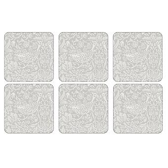 William Morris Pure Strawberry Thief Coasters, Set of 6