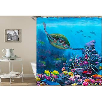 Sea Turtle Swimming With Corals Shower Curtain