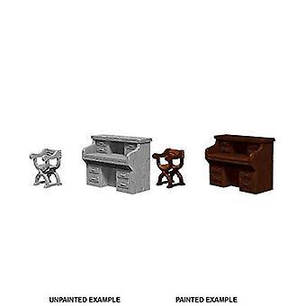 WizKids Deep Cuts Unpainted Miniatures Desk & Chair (Pack of 6)