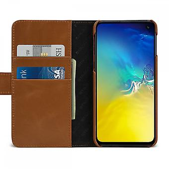 Case For Samsung Galaxy S10th True Leather Cognac Card Holder