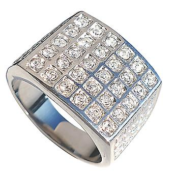 Ah! Jewellery Men's Highly Polished Solid Stainless Steel Ring