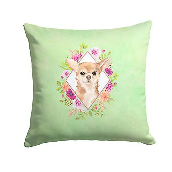 Chihuahua Green Flowers Fabric Decorative Pillow