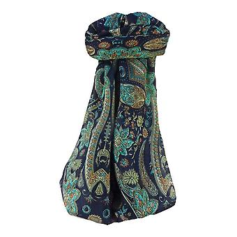 Mulberry Silk Traditional Square Scarf Ravi Navy by Pashmina & Silk