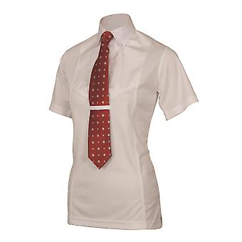 Shires Ladies Short Sleeve Tie Shirt - White