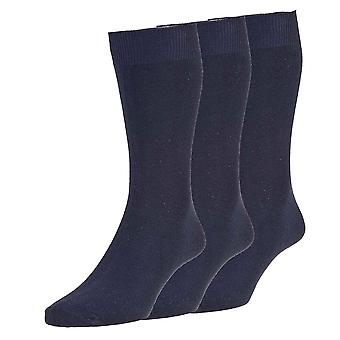3pk Hj Hall Executive Cotton Rich Casual Smooth Knit Plain Socks