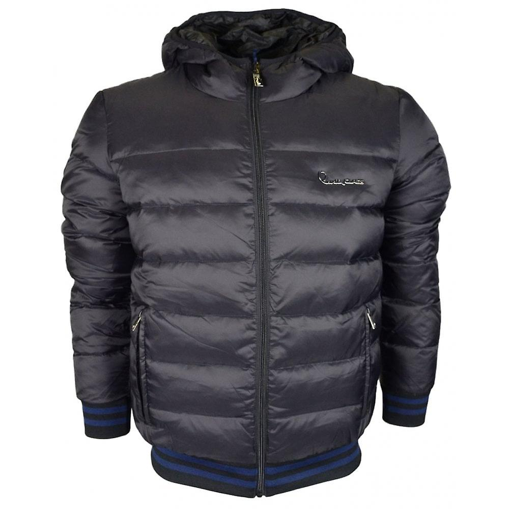 Cavalli Class Quilted Hooded Zip Up Black Jacket