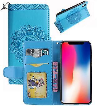 لiPhone XS، X محفظة القضية، أنيقة ماندالا منقوش ة غطاء جلدي دائم، الأزرق