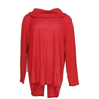 Style et Cie. Femmes plus Top Cowl Neck Long Sleeve Waffle Knit Red