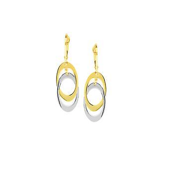 14k Gul och vit guld interlocked dingla Double Oval Lever Tillbaka Örhängen Smycken Gåvor för kvinnor