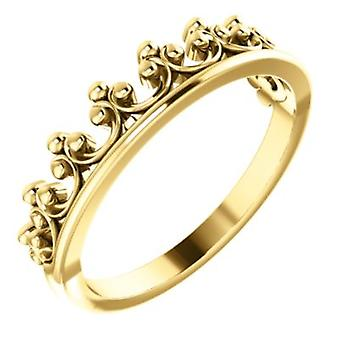 14k Yellow Gold Polished Stackable Crown Ring Size 6.5 Jewelry Gifts for Women - 3.0 Grams