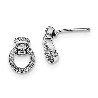 9.3mm 925 Sterling Silver Rhodium plated Polished and Textured CZ Cubic Zirconia Simulated Diamond Circle Post Earrings