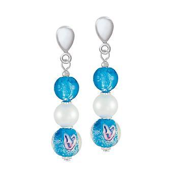 Evig samling Chiara turkis blå Muranoglass Silver Tone slipp klipp på øredobber