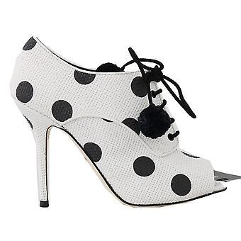 Dolce & Gabbana White Polka Dot Peep Toes Booties