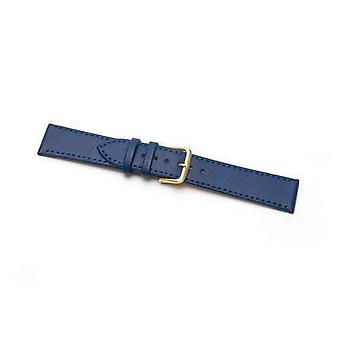 Leather watch strap extra long blue stitched economy collection