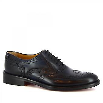 Leonardo Shoes Men's handgemaakte brogues oxford schoenen in donkerblauw kalfleer
