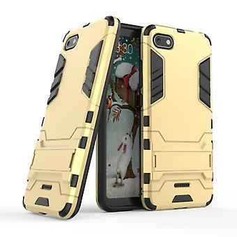 HATOLY iPhone Plus 8 - Robotic Armor Case Cover Cas TPU Case Gold + Kickstand