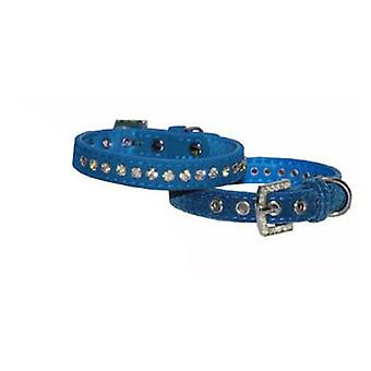 Mgz Alamber Collar Terciopelo Con Diamantes Azul - 26 X 1.27 Cm