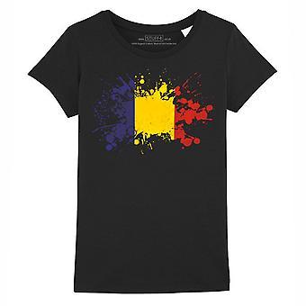 STUFF4 Girl's Round Neck T-Shirt/Romania/Romanian Flag Splat/Black