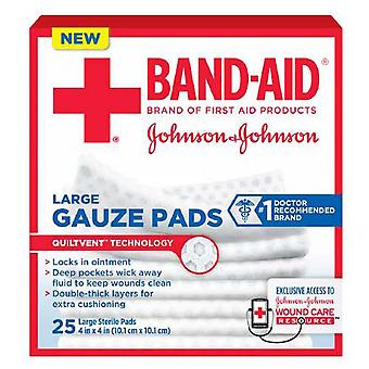 Band-aid first aid gauze pads, quiltvent, large, 4 inch x 4 inch, 25 ea