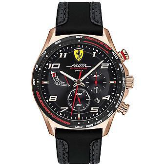Scuderia Ferrari | Men's Pilota | Black Leather/Silicone Strap | Black Dial 0830719 Watch