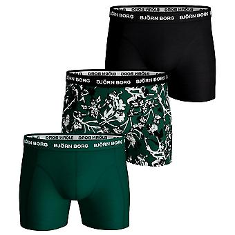 Bjorn Borg puuvilla Stretch shortsit 3 Pack Fleurs de Jardin-Evergreen