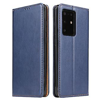 Pour Samsung Galaxy S20 Ultra Case Leather Flip Wallet Folio Cover Blue