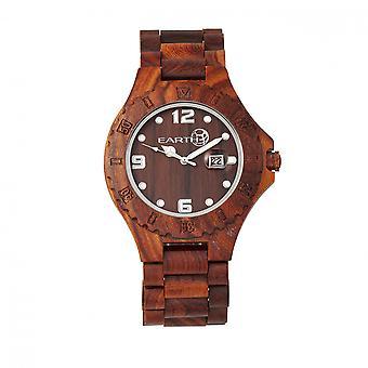 Earth Wood Raywood Bracelet Watch w/Date - Red