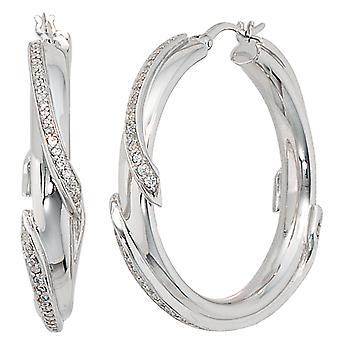 Hoop earrings 925 sterling silver with cubic zirconia earrings Silver earrings kitchen
