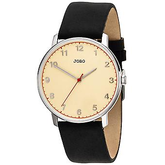 JOBO Men's Wristwatch Quartz Analog Stainless Steel Leather Strap Men's Watch