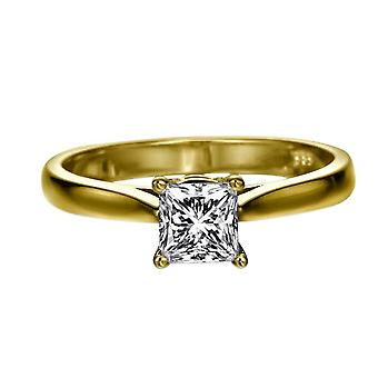 0.7 Carat D VS2 Diamond Engagement Ring 14K Yellow Gold Solitaire Classic Cathedral