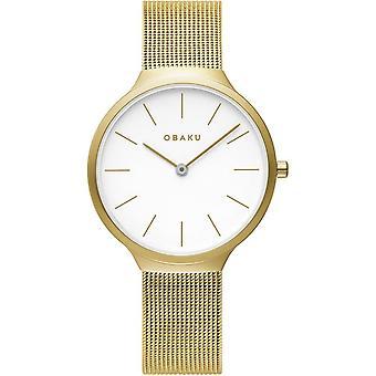 Obaku Ark Lille Gold Tone Women's Wristwatch V240LXGWMG
