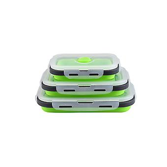 3pcs Rectangular sealed lunch box Rectangular multifunctional box Silicone folding fresh-keeping box