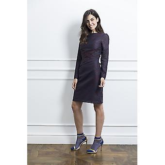 Stripete kvinne kjole med flat folder