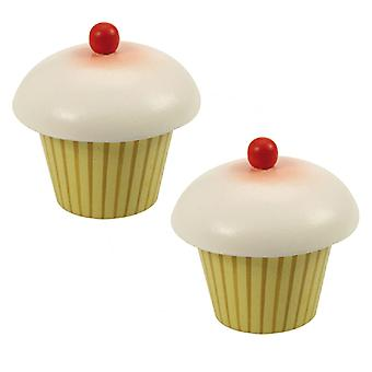Bigjigs Toys Wooden Play Food Cupcake (Pack of 2) Pretend Roleplay Kitchen