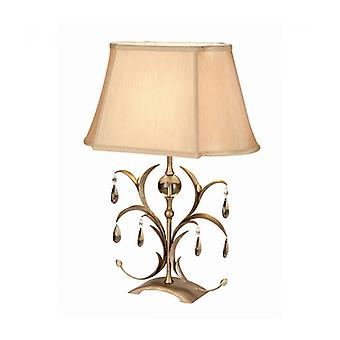 Lily Lamp, Antique Bronze And Glass, With Lampshade