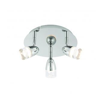 Saul Plafond Light, Nickel et Acrylique, 3 Ampoules